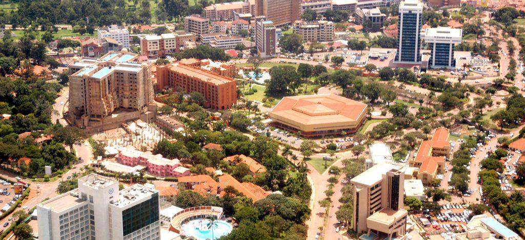Kampala city aerial view