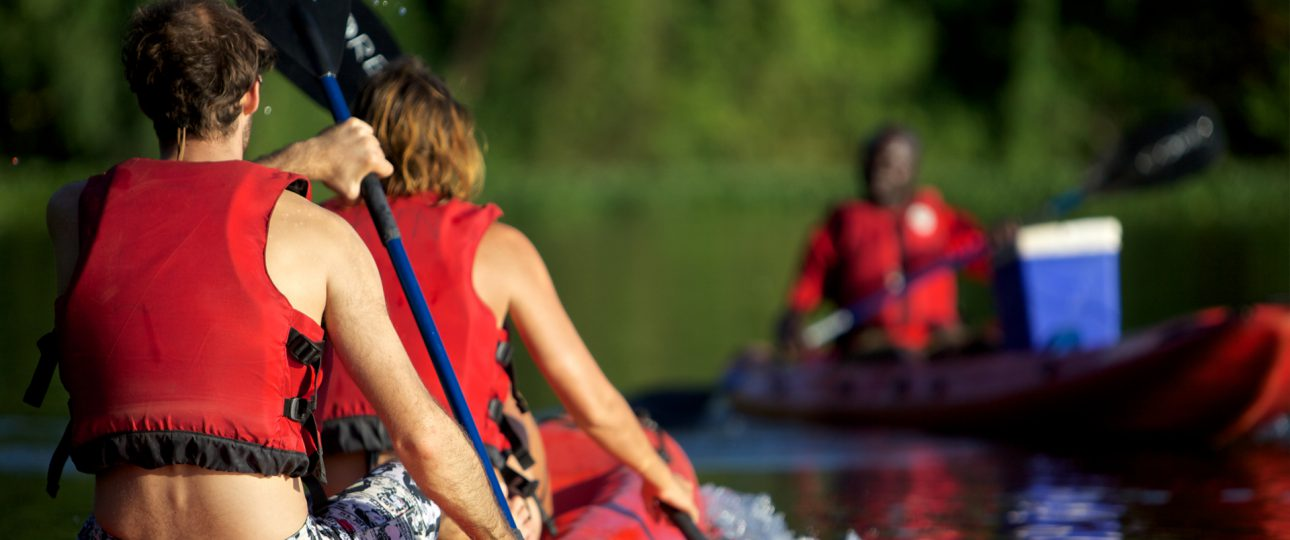 Canoeing at the source of the Nile