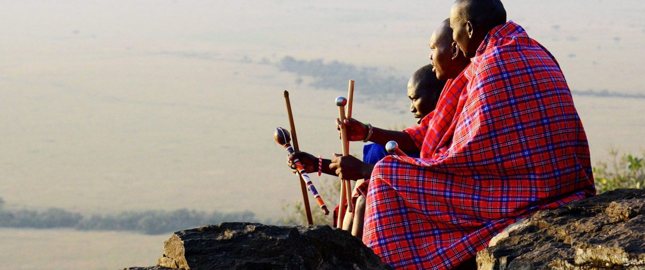 Kenya's famous Masai gentlemen in their traditional outfits