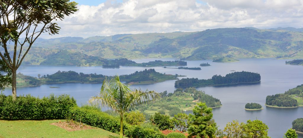 An offshore view of the scenic Lake Bunyonyi
